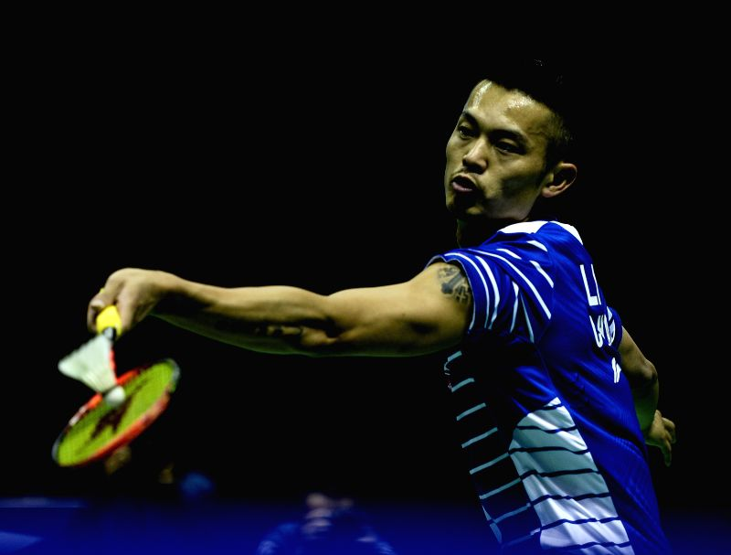 KUNSHAN, May 16, 2016 - Lin Dan of China competes during the men's singles match against Lucas Claerbout of France in the Group A match at the Thomas Cup badminton championship in Kunshan, east ...
