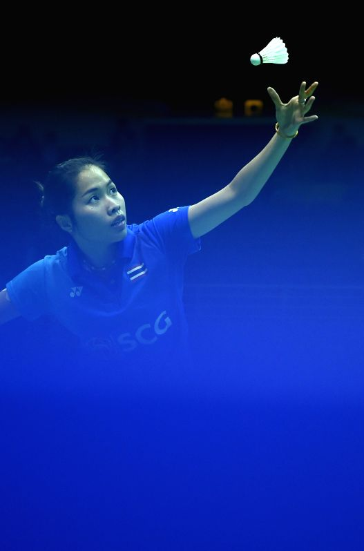 KUNSHAN, May 16, 2016 - Ratchanok Intanon of Thailand competes during the women's singles match against Linda Zetchiri of Bulgaria in the Group C match at the Uber Cup badminton championship in ...