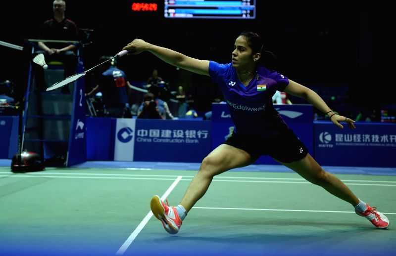 KUNSHAN, May 16, 2016 - Saina Nehwal of India competes during the women's singles match against Hsuan-Yu Wendy Chen of Australia in the Group D match at the Uber Cup badminton championship in ...