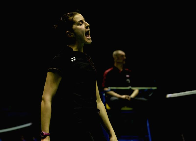 KUNSHAN, May 17, 2016 - Carolina Marin of Spain celebrates after scoring during the women's singles match against Wang Shixian of China in the Group A match at the Uber Cup badminton championship in ...