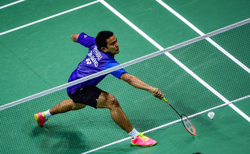 KUNSHAN, May 17, 2016 - Khosit Phetpradab of Thailand competes during the men's singles match against Christie Jonatan of Indonesia in the Group B match at the Thomas Cup badminton championship in ...