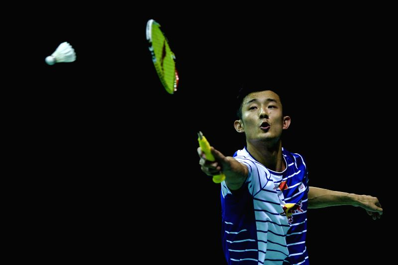 KUNSHAN, May 18, 2016 - Chen Long of China competes during the men's singles match against Sasaki Sho of Japan in the Group A match at the Thomas Cup badminton championship in Kunshan, east China's ...