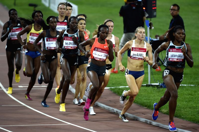 KUNSHAN, May 18, 2016 - Hellen Onsando Obiri of Kenya (4th R) competes during the women's 1500m final at the 2016 IAAF World Challenge Beijing in Beijing, capital of China, May 18, 2016. Hellen ...