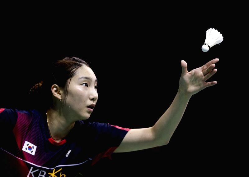 KUNSHAN, May 20, 2016 - Sung Ji Hyun of South Korea competes during the women's singles match against Okuhara Nozomi of Japan in the semifinal match at the Uber Cup badminton championship in Kunshan, ...