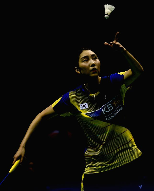 KUNSHAN, May 21, 2016 - Sung Ji Hyun of South Korea competes during the women's singles match against Li Xuerui of China in the final match at the Uber Cup badminton championship in Kunshan, east ...