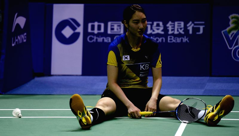 KUNSHAN, May 21, 2016 - Sung Ji Hyun of South Korea reacts during the women's singles match against Li Xuerui of China in the final match between China and South Korea at the Uber Cup badminton ...