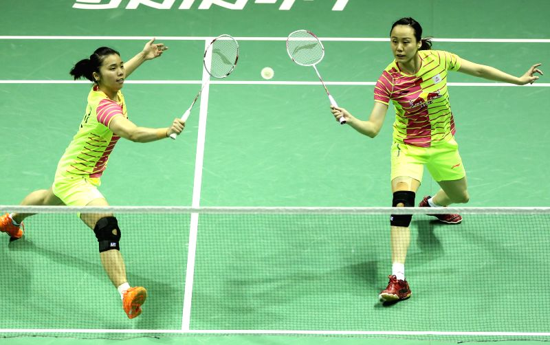 KUNSHAN, May 21, 2016 - Tian Qing (L) and Zhao Yunlei of China compete during the women's doubles match against Jung Kyung Eun and Shin Seung Chan of South Korea in the final match between China and ...