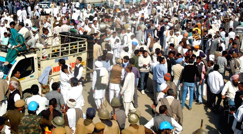 Farmers owing allegiance to the Bharatiya Kisan Union (BKU) block the Kurukshetra-Saharanpur highway to press for their demands,  which include hike in the minimum support price (MSP) ...