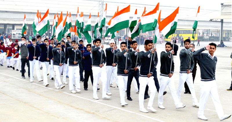 Republic Day rehearsals underway at a Pehowa in Kurukshetra district of Haryana on Jan 21, 2015.