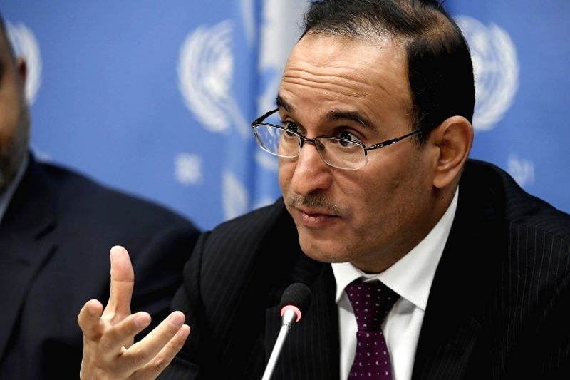 Kuwait's Permanent Representative to the United Nations, Mansour Ayyad Al-Otaibi, speaks at a news conference at the UN headquarters in New York on Thursday, February 1, 2018, after he assumed the ...