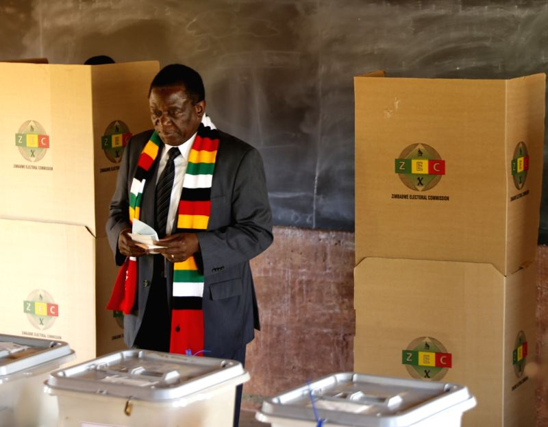 KWEKWE, July 30, 2018 - Zimbabwean President Emmerson Mnangagwa votes in Kwekwe, Midlands, Zimbabwe, July 30, 2018. Zimbabweans began voting on Monday in the African country's first presidential ...