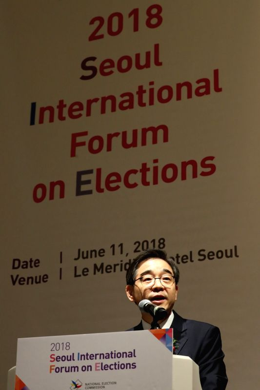 Kwon Soon-il, chairman of the National Election Commission, speaks at Seoul International Forum on Elections at a hotel in Seoul on June 11, 2018.