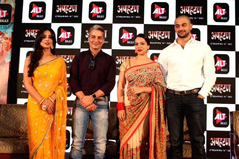 "(L-R) Actors Mahi Gill, Varun Badola, Nidhi Singh and Arunodoy Singh at the launch of their web series ""Apharan"" in New Delhi, on Dec 6, 2018. - Mahi Gill, Varun Badola, Nidhi Singh and Arunodoy Singh"