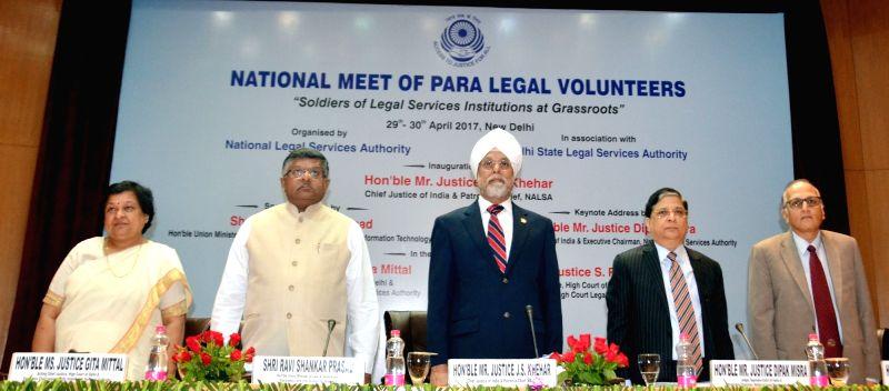 (L to R) Chief Justice of Delhi High Court, Justice Gita Mittal, Union Law Minister Ravi Shankar Prasad, Chief Justice of India Justice Jagdish Singh Khehar, Justice Deepak Mishra and ... - Ravi Shankar Prasad, Jagdish Singh Khehar and Deepak Mishra
