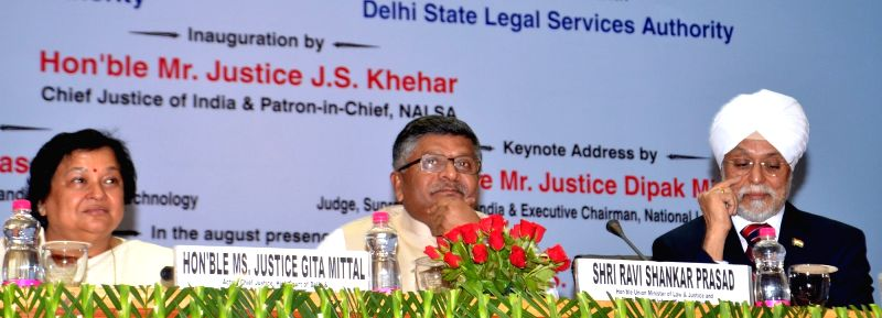 (L to R) Chief Justice of Delhi High Court,  Justice Gita Mittal, Union Law Minister Ravi Shankar Prasad and Chief Justice of India Justice Jagdish Singh Khehar during the National Meet of ... - Ravi Shankar Prasad and Jagdish Singh Khehar