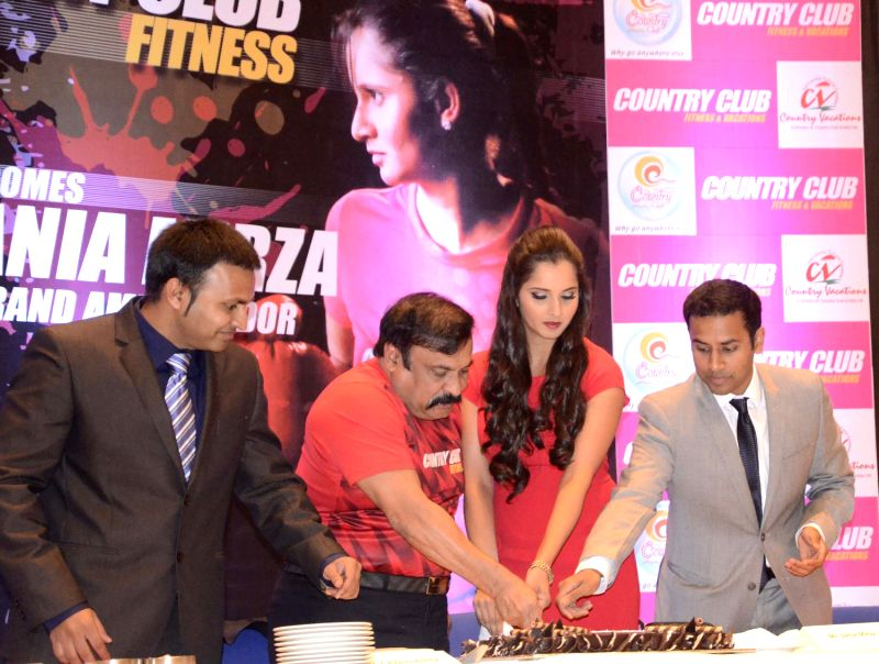 (L to R) Country Club India Ltd (CCIL) CEO Siddarth Reddy, Chairman, Y Rajeev Reddy, Indian Tennis Player Sania Mirza and COO, Varun Reddy at a press conference announcing Indian Tennis player Sania . - Siddarth Reddy, Y Rajeev Reddy and Varun Reddy
