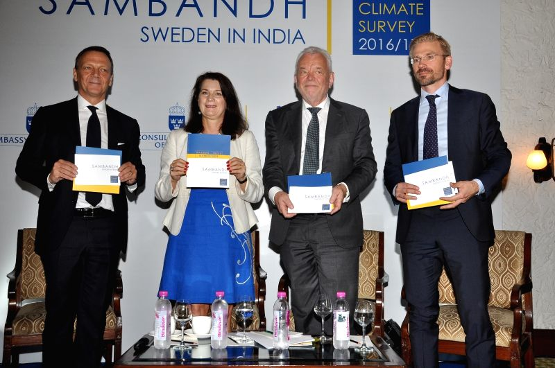 (L to R) Ericsson India head Paolo Colella, Minister for Trade and EU Affairs and Foreign Affair Minister Ann Linde, Swedish Ambassador to India Harald Sandberg and Trade Commission of ... - Ann Linde