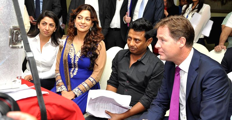 (L to R) Filmmaker Bhavna Talwar, Juhi Chawla, Onir, Deputy Prime Minister of U.K. Nick Clegg during the muhurat of Vistaar Film Fund`s and WSG Picture latest film Veda, in Mumbai, on Aug. 26, 2014. - Bhavna Talwar and Juhi Chawla
