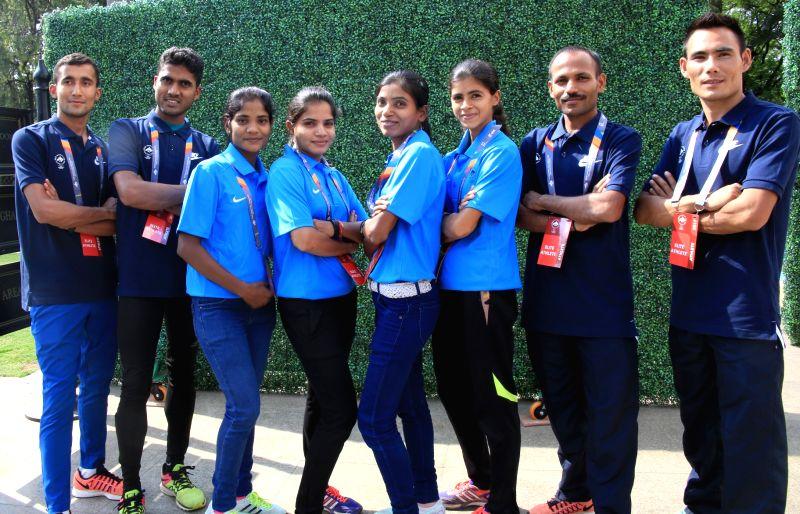 (L to R) Indian athletes Shankar Man Thapa, Indrajeet Patel, Jyoti Chouhan, Monika Raut, Kiran Sahdev, Saigeeta Naik, Deepak Kumbhar and Tirtha Pun during a press conference on TCS World ... - Indrajeet Patel