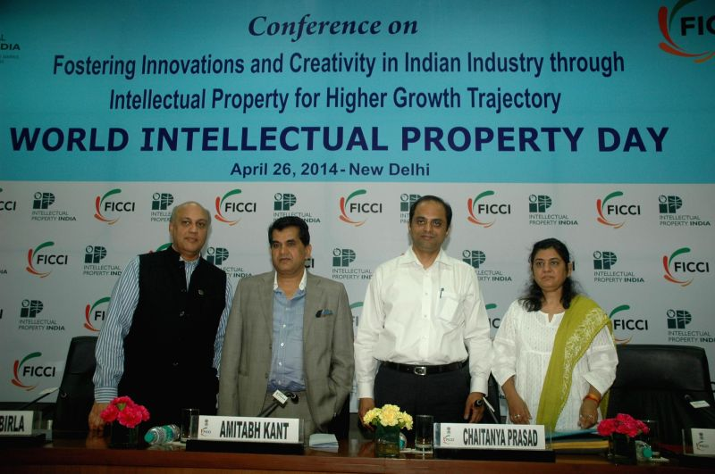 (L to R) President FICCI Sidharth Birla, Secretary, Dept. of Industrial Policy and Promotion (DIPP), Ministry of Commerce Amitabh Kant, Controller General of Patents, Designs and Trademark, Govt. of .