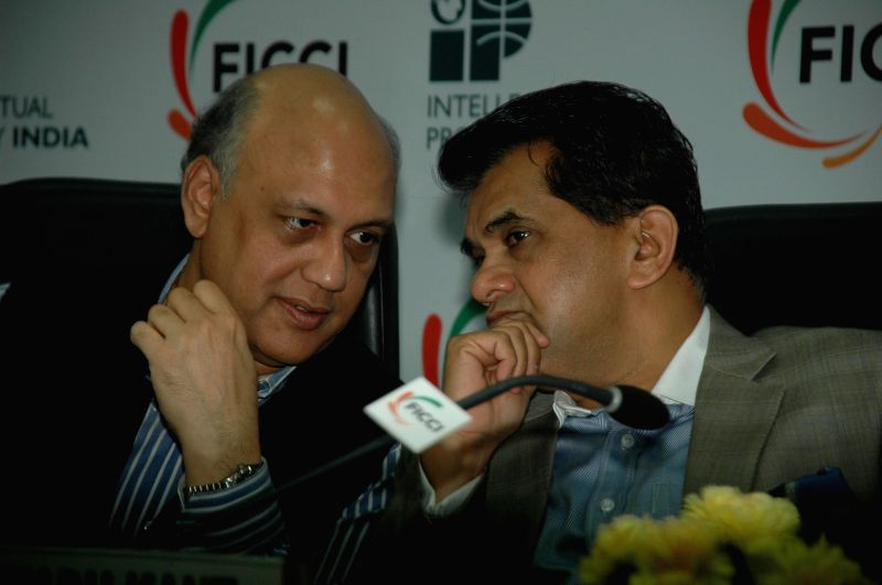 (L to R) Secretary, Dept. of Industrial Policy and Promotion (DIPP), Ministry of Commerce Amitabh Kant and President, FICCI Sidharth Birla at conference on 'Fostering Innovations and Creativity in ...