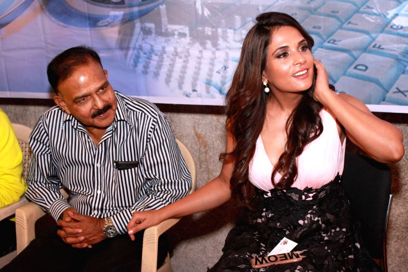 (L to R)Social activist and founder of the NGO Prayas Amod Kanth and actress Richa Chadda during a press conference to promote their upcoming film `Main Aur Charles` in Noida, on Oct 27, 2015. - Richa Chadda