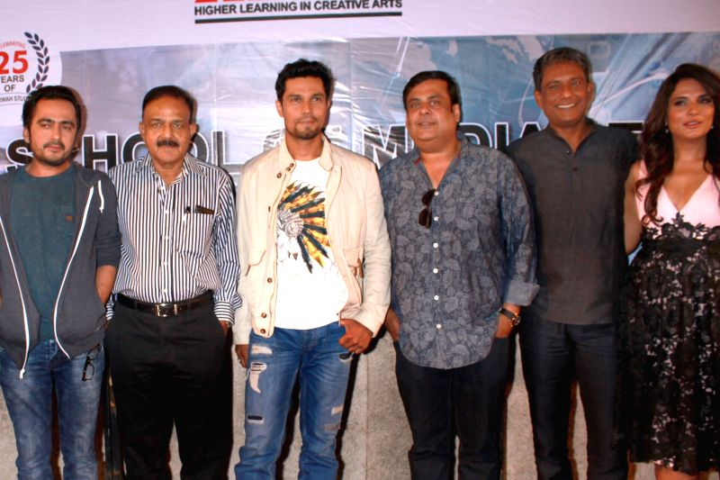 (L to R) Social activist and founder of the NGO Prayas Amod Kanth -investigating officer for the notorious Charles Sobhraj case -, actors Randeep Hooda, Adil Hussain and Richa Chadda during a ... - Randeep Hooda, Adil Hussain and Richa Chadda