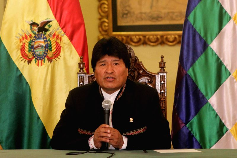 Bolivia's President Evo Morales speaks during a press conference on the last day of 2014 in La Paz, Bolivia, on Dec. 31, 2014. Evo Morales congratulated the Bolivians