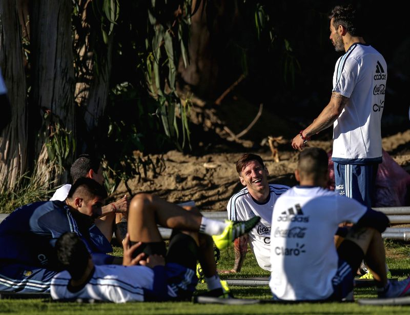 Players of Argentina's national soccer team, take part in a training session, in La Serena, Chile, on June 9, 2015. Argentina will debut on the Copa America 2015 ...
