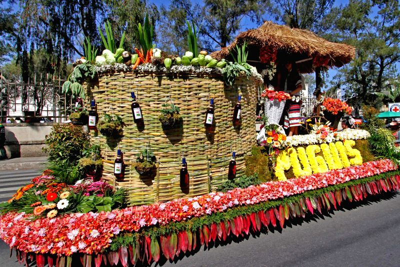 Photo taken on March 20, 2015 shows a float made of strawberries, roses, anthuriums, vegetables and other recyclable materials parading along a main ...