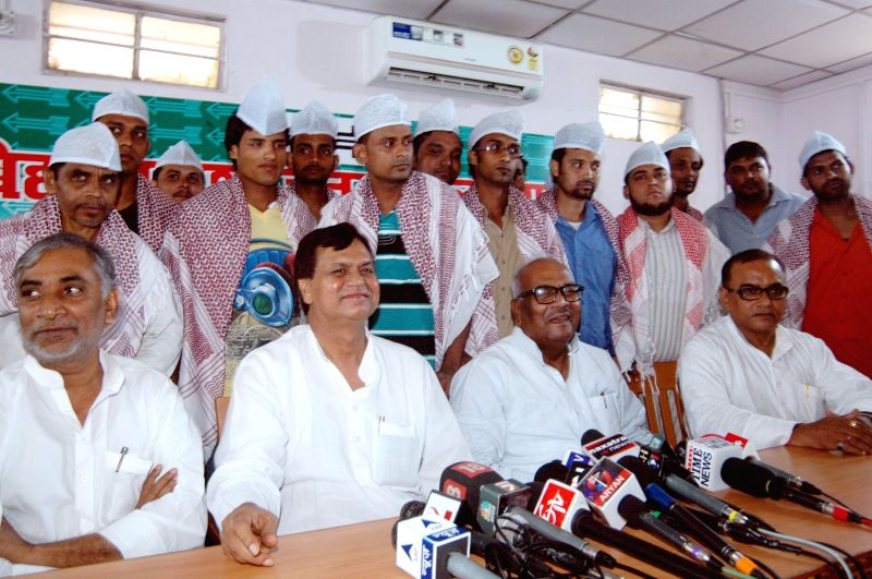 Labours who were released from the jails of Saudi Arabia during a press conference at JD(U) office in Patna on July 27, 2014.