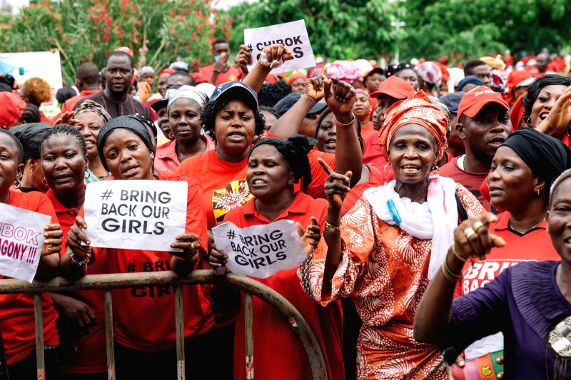 Protesters gather during a rally to demand the return of some 200 missing school girls abducted by Boko Haram in the state of Lagos, Nigeria, May 13, 2014.
