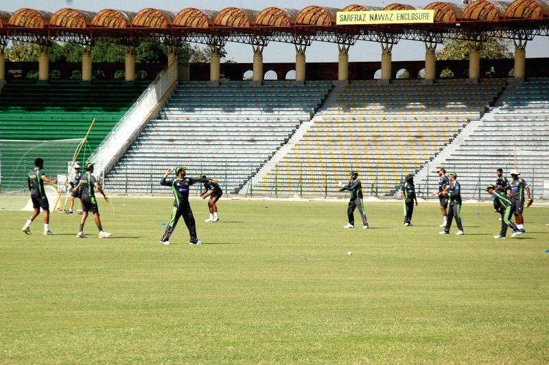 Pakistani cricketers attend a training session for the upcoming Bangladesh cricket tour at the Gaddafi Stadium in eastern Pakistan's Lahore, April 10, 2015. ...