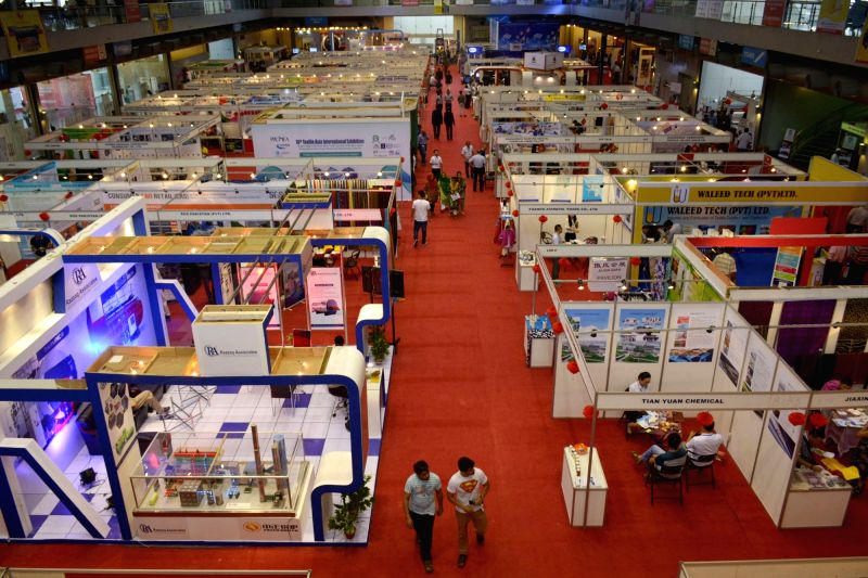 LAHORE, Aug. 27, 2016 - Photo taken on Aug. 27, 2016 shows the venue of 16th International Textile Asia Exhibition in eastern Pakistan's Lahore. The three-day event kicks off on Saturday at Lahore ...