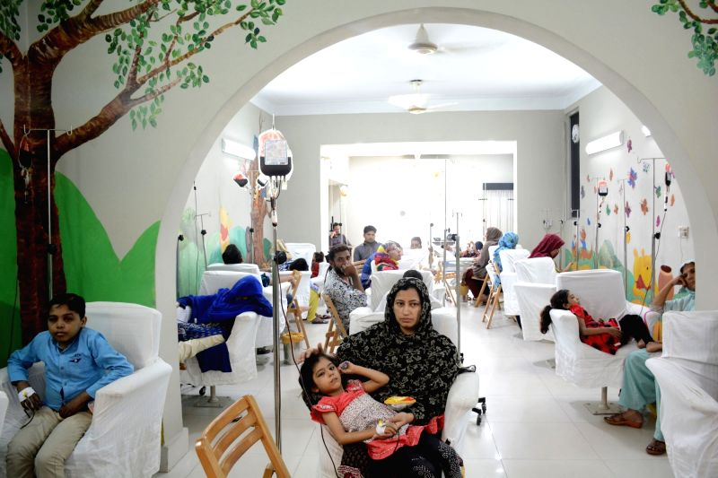 LAHORE, June 14, 2017 - Children suffering from thalassemia receive donated blood on the World Blood Donor Day in eastern Pakistan's Lahore, on June 14, 2017. World Blood Donor Day is annually ...