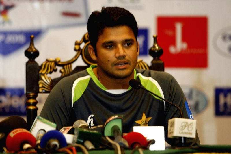 Pakistan's team captain Azhar Ali speaks during a press conference at the Gaddafi Cricket Stadium in eastern Pakistan's Lahore on May 25, 2015. Zimbabwe is the first ... - Azhar Ali