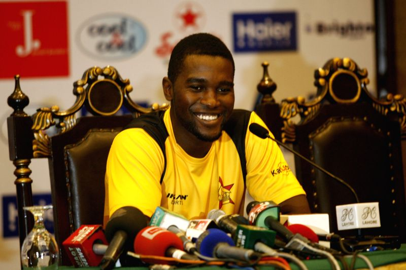 Zimbabwe's team captain Elton Chigumbura speaks during a press conference at the Gaddafi Cricket Stadium in eastern Pakistan's Lahore on May 25, 2015. Zimbabwe is the ... - Elton Chigumbura