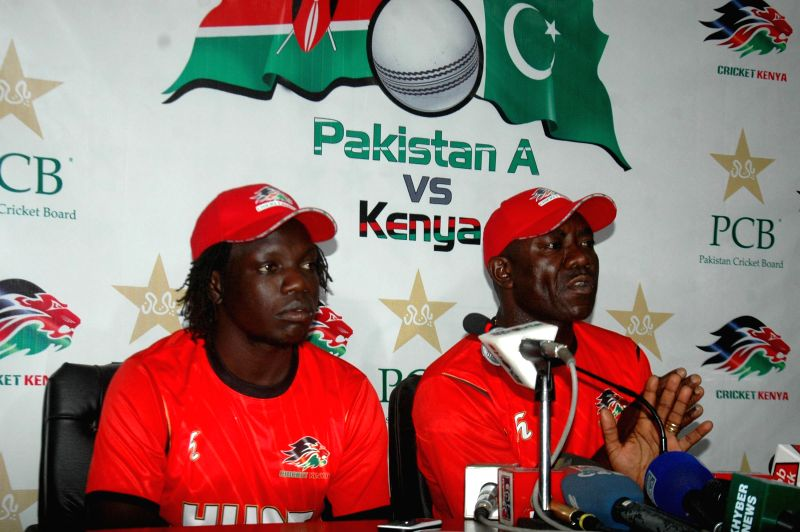 Lahore (Pakistan): Kenyan cricket coach Steve Tikolo (R) speaks during a press conference at the Gaddafi Cricket Stadium in eastern Pakistan's Lahore on Dec. 10, 2014. The Kenyan cricket team arrived