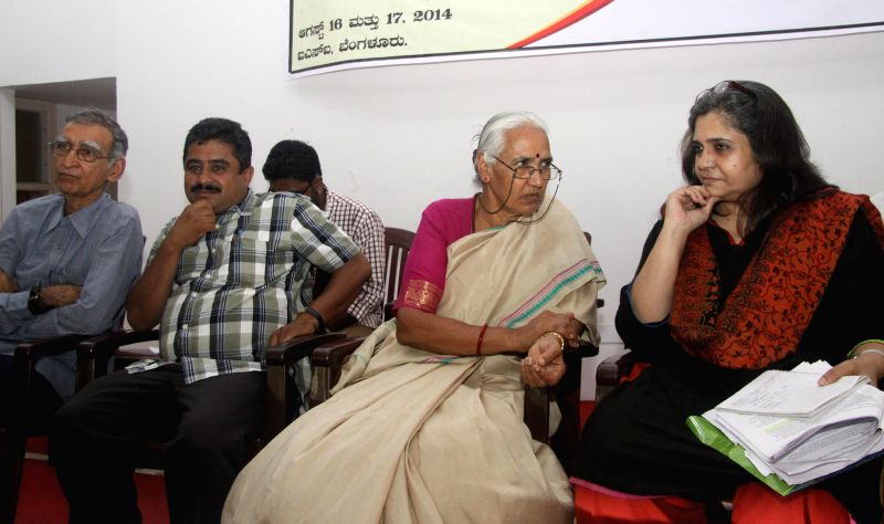 Lalita Nayak, Former Minister seen discussing with Teesta Setwad, Renowned Human Rights Activist, Mumbai, KL Ashok and Ram Buniyani, Writer seen during the All India Consultation Meeting of ...