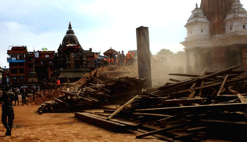 Rescue team of Nepal Army clear the debris at Patan Durbar Square after an earthquake in Lalitpur, Nepal, April 29, 2015. The 7.9-magnitude quake hit Nepal at ...