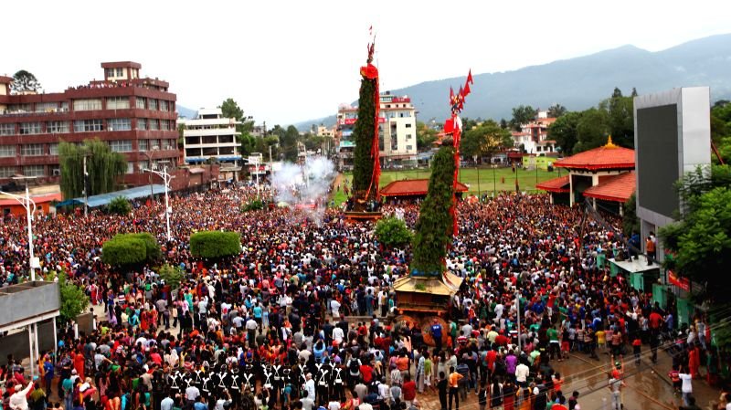 LALITPUR, July 27, 2016 - Devotees participate in the celebration of month-long Rato Machhendranath festival at Jawalakhel in Lalitpur, Nepal, July 26, 2016. The month-long festival is going to ...