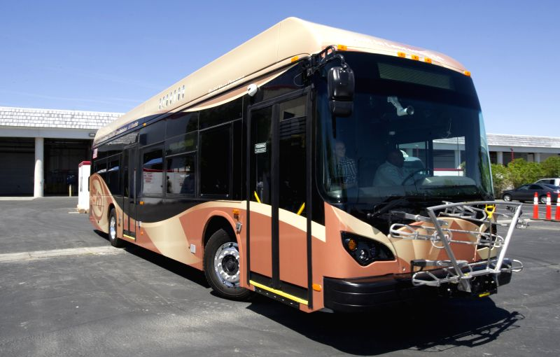 BYD shows the first American-made electric bus built at it's factory in Lancaster, California, the United States, April 28, 2014. BYD unveiled its first ...