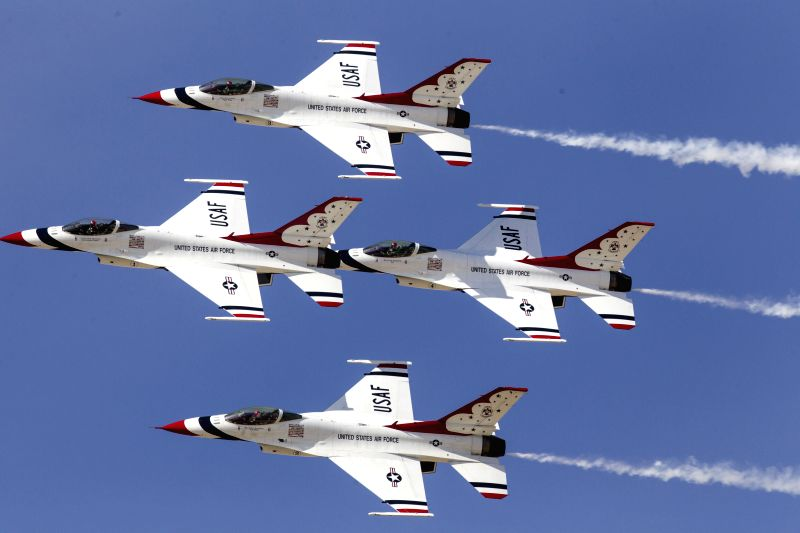 Planes of the U.S. Air Force Thunderbirds perform during the Los Angeles County Air Show at William J Fox Airport in Lancaster, California, the U.S., on March ...