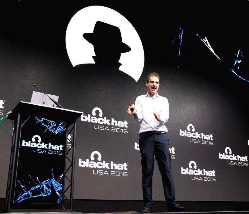 LAS VEGAS, Aug. 4, 2016 - Dan Kaminsky keynotes the Black Hat USA 2016 conference, in Las Vegas, the United States, on Aug. 3, 2016. Black Hat, built by and for the global InfoSec community in 1997, ...