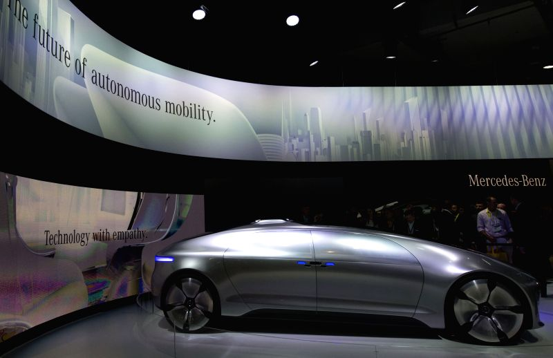 A Mercedes-Benz hybrid concept car is seen during the 2015 International Consumer Electronics Show (CES) in Las Vegas, the United States, on Jan. 6, 2015. ...