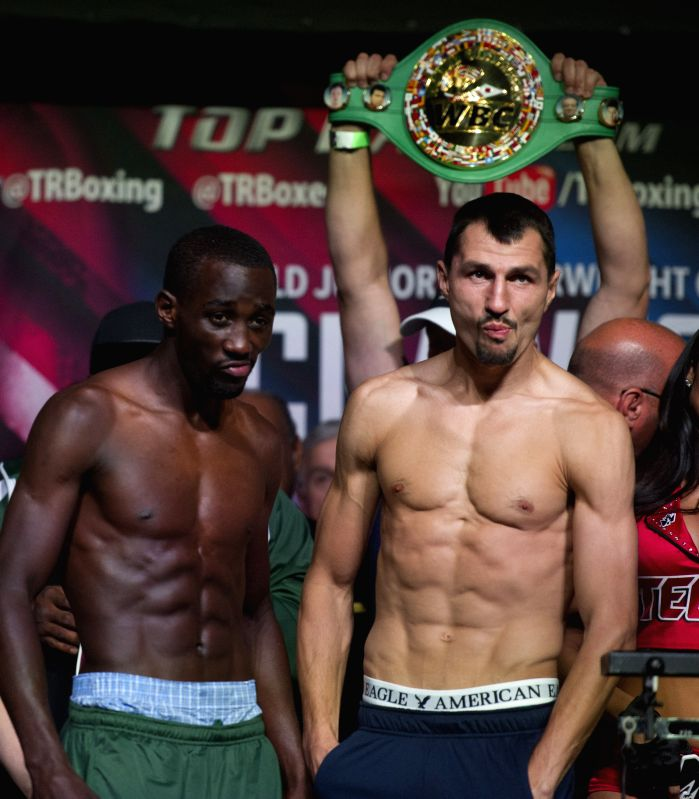 LAS VEGAS, July 23, 2016 - Terence Crawford (L) of the United States and Viktor Postol of Ukraine pose ahead of their WBC-WBO vacant junior welterweight title inification fight at the MGM Grand ...