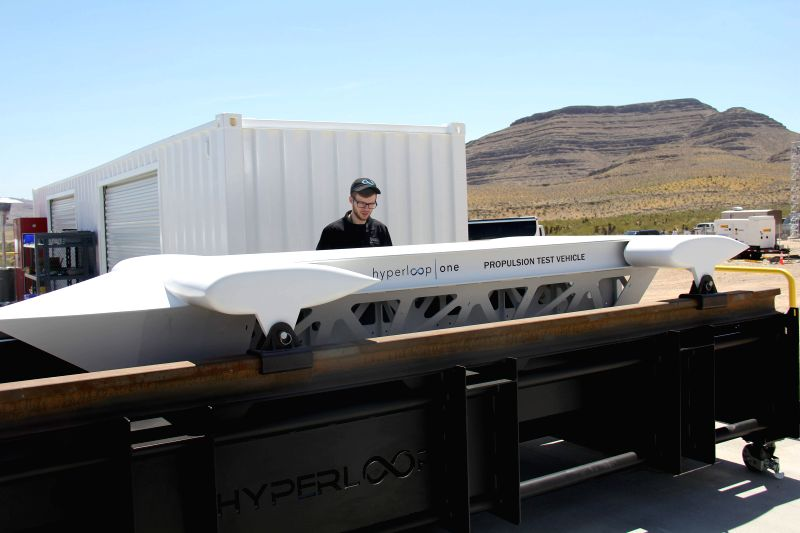 LAS VEGAS, May 12, 2016 - A mock-up of the test sled is displayed during a propulsion open-air test of Hyperloop One's transportation technology, in Nevada, U.S. May 11, 2016. Hyperloop One stages ...