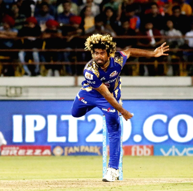 Lasith Malinga of Mumbai Indians during an IPL 2017 match between Gujarat Lions and Mumbai Indians at Saurashtra Cricket Association Stadium in Rajkot on April 29, 2017.