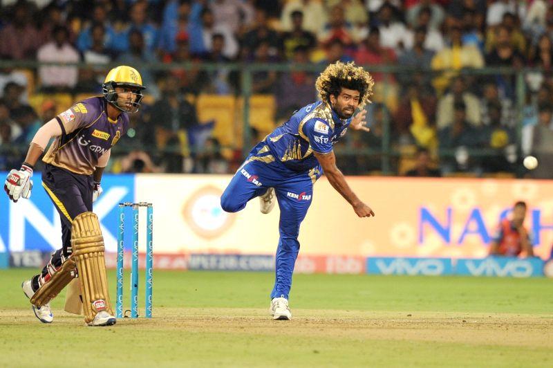 Lasith Malinga of Mumbai Indians in action during Qualifier 2 of IPL 2017 between Mumbai Indians and Kolkata Knight Riders at M Chinnaswamy Stadium in Bengaluru on May 19, 2017.