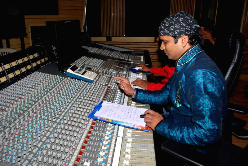 Lateef film music recording with singer Shahid Mallya of Student of Year fame at Goregaon in Mumbai on June 19, 2014.